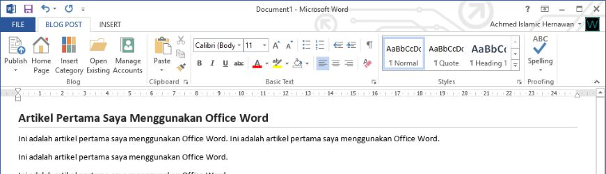 Cara Menulis Artikel Blog Menggunakan Office Word Header