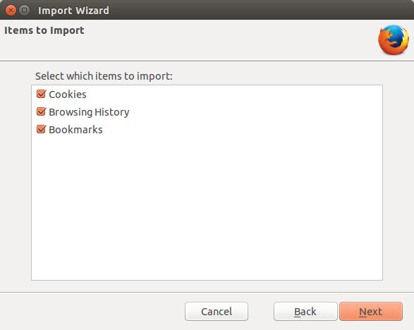 Data yang akan diimpor ke Firefox