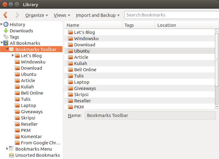 Memindahkan bookmark ke Bookmark Toolbar