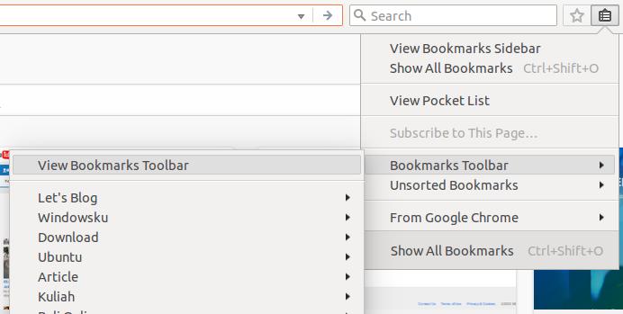 Cara menampilkan Bookmark Toolbar