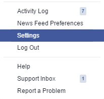 Membuka menu Settings di Facebook