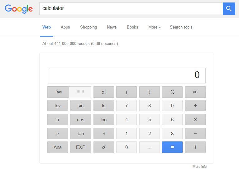 Cara menggunakan kalkulator di Google