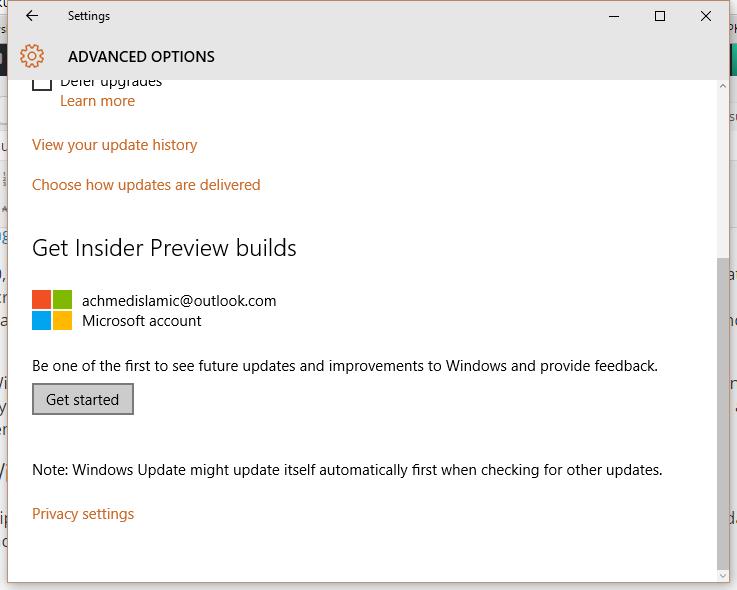 Menggunakan Insider Preview Builds