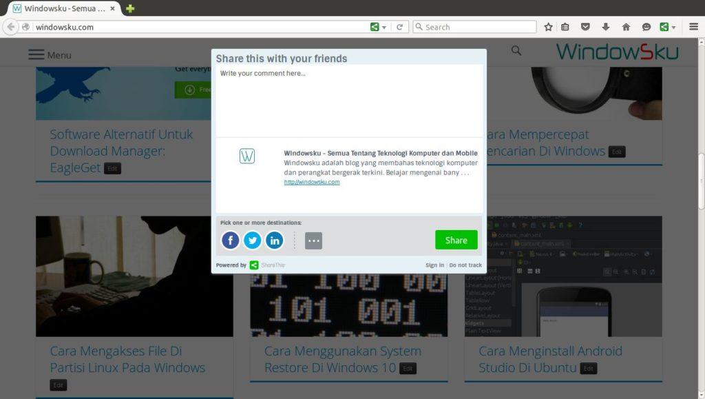 Membagikan website ke jejaring sosial