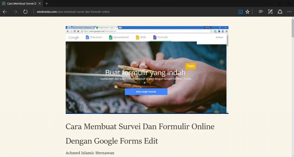 Mengaktifkan Reading View di Microsoft Edge