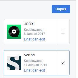 Menghapus Aplikasi Situs Web Facebook