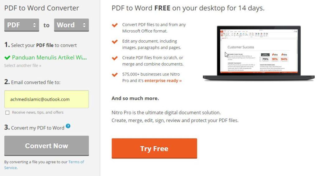 Menggunakan PDF To Word Milik Nitro