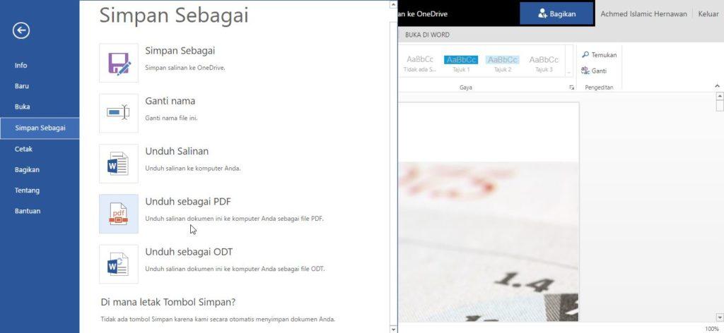 Menyimpan Dokumen Menjadi Pdf Di Office Online