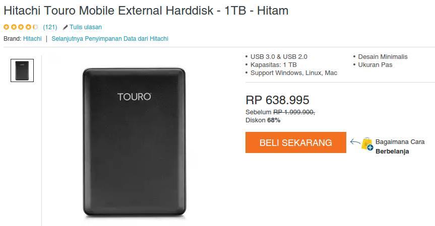 Hitachi Touro Mobile External 1tb