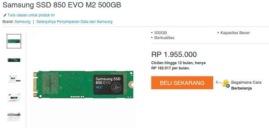 Ssd M2 Dari Samsung 500gb