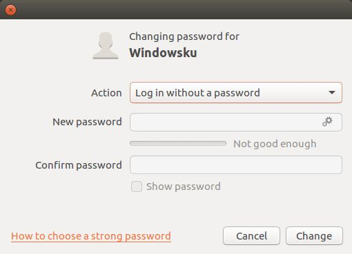User Account Tanpa Password