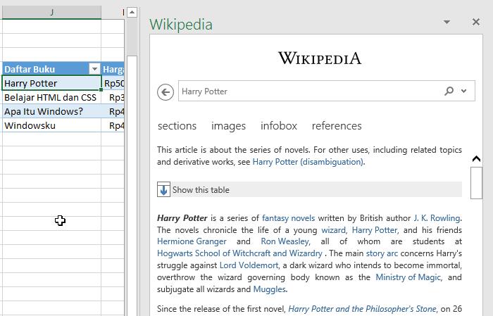 Menggunakan Add In Wikipedia Di Excel