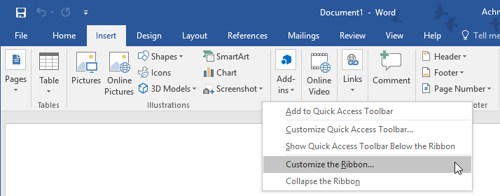 Customize The Ribbon Microsoft Word