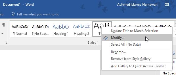Menu Modify Style Microsoft Word