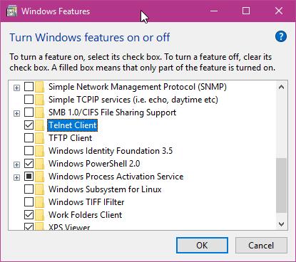 Aktifkan Telnet Di Windows Features Windows 10