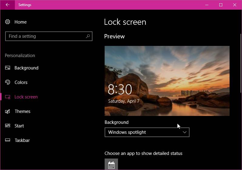Lockscreen Windows 10