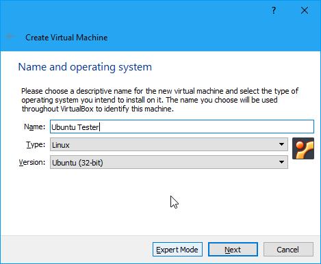 Memilih Ubuntu Virtualbox