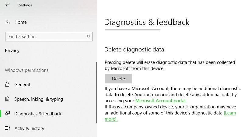 Diagnostics Feedback Windows 10 April 2018 Update