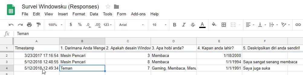 Laporan Google Form Di Google Sheet