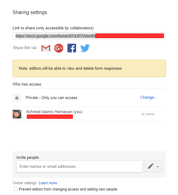Menambah Kolaborator Google Form