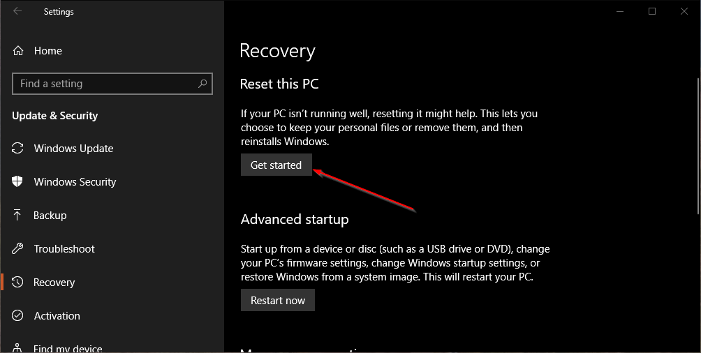 Tombol Get Started Reset Windows 10
