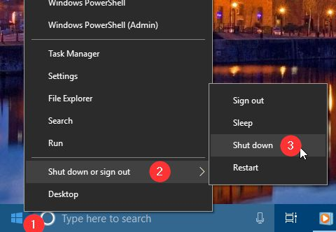 Mematikan Komputer Windows Menu Klik Kanan Start
