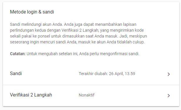 Metode Login Sandi Google Account