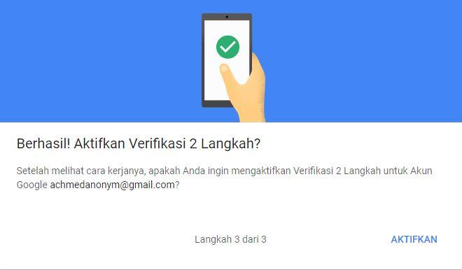 Verifikasi 2 Langkah Berhasil Google Account