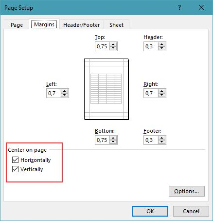 Custom Margins Excel