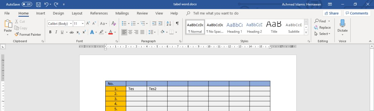 Cara Membuat Tabel Di Microsoft Word Header