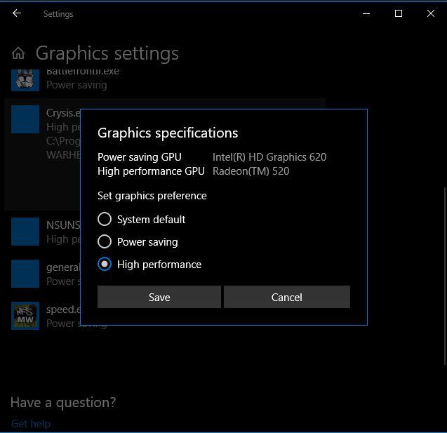 Memilih Kartu Grafis Graphics Settings Windows 10