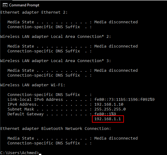 Ipconfig Command Prompt Windows 10