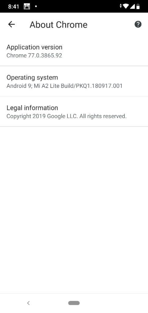 Versi Chrome Android