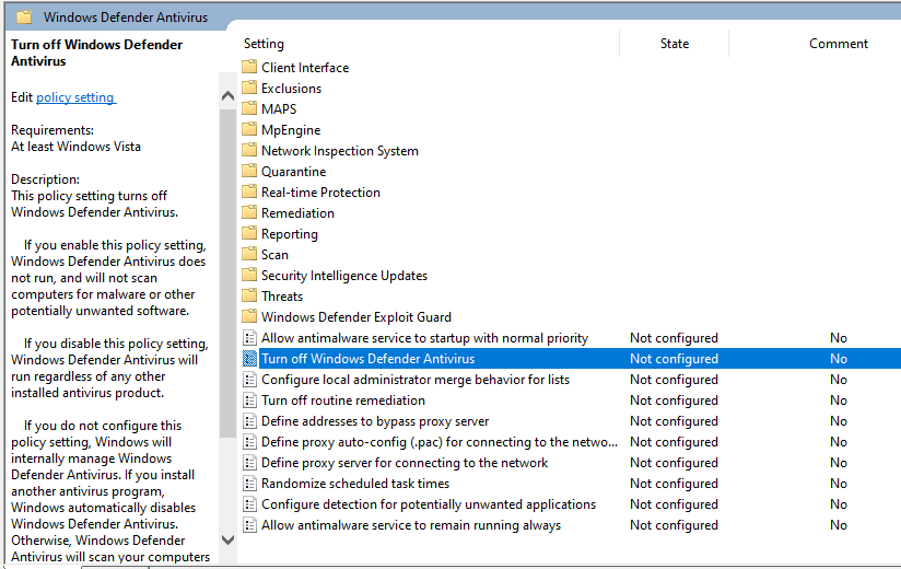 Local Group Policy Editor Mematikan Windows Defender