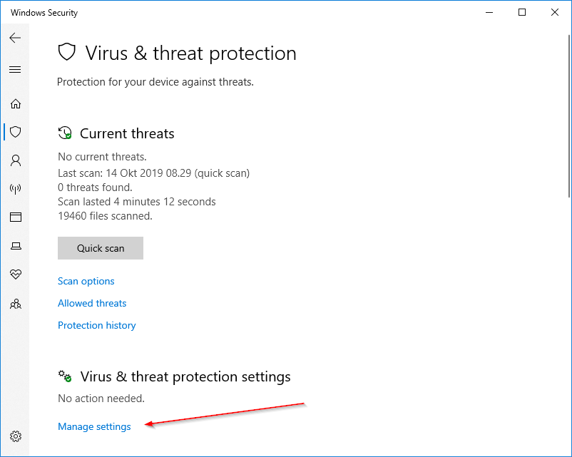 Virus Threat Protection Windows Security