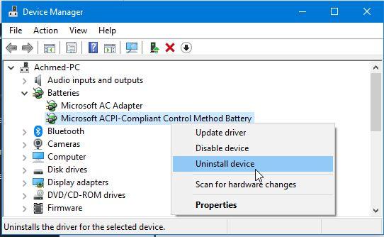 Menghapus Driver Baterai Windows 10