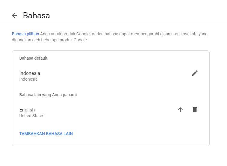 Pengaturan Bahasa Akun Google