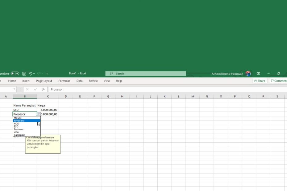 Cara Membuat Dropdown Di Excel Header