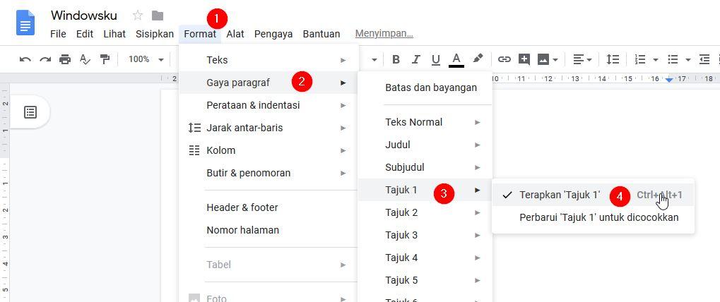 Menggunakan Gaya Paragraf Google Docs