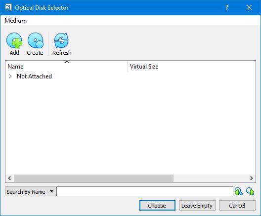 Optical Disk Selector Virtualbox