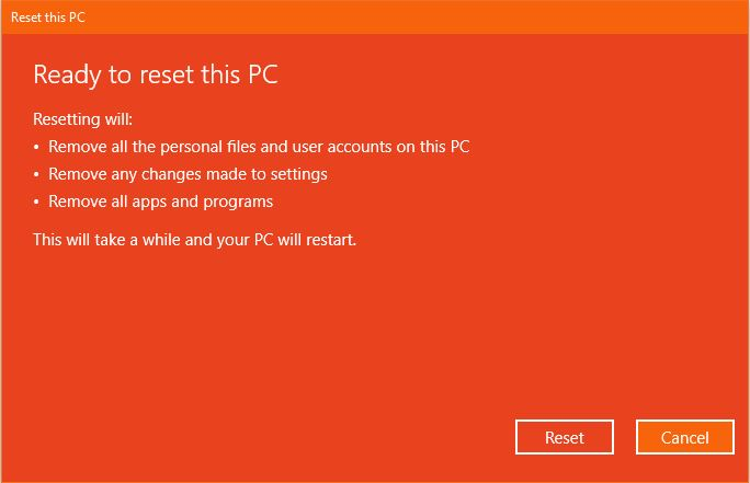 Persiapan Reset This Pc Windows 10