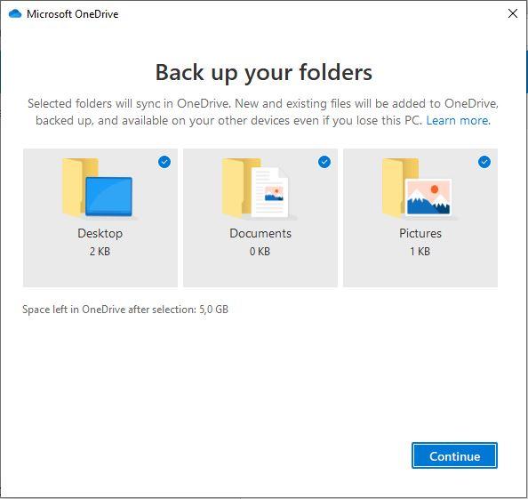 Memilih Folder Yang Akan Di Backup Onedrive Windows