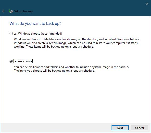Memilih File Folder Yang Di Backup