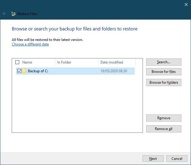 Memilih Folder Yang Ingin Dikembalikan Data Backup And Restore