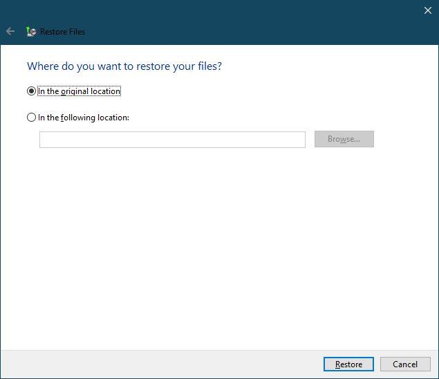Memilih Lokasi Pengembalian Data Backup And Restore