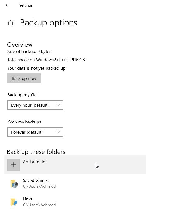 Opsi Backup File History