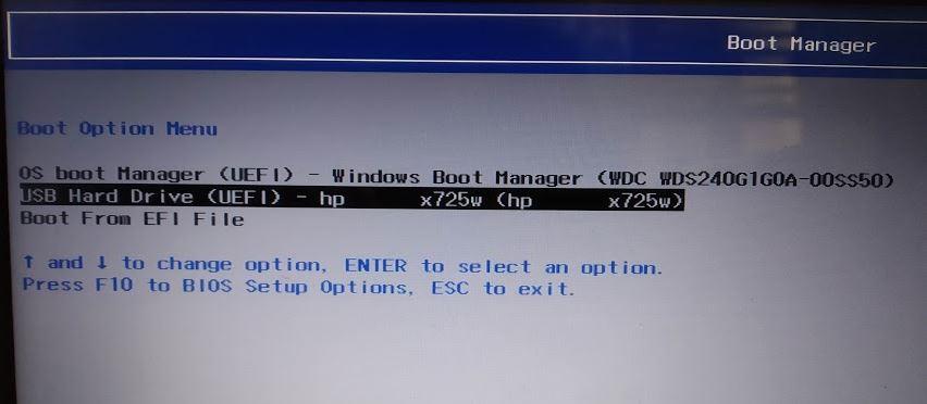 Memilih Boot Flash Disk Boot Manager