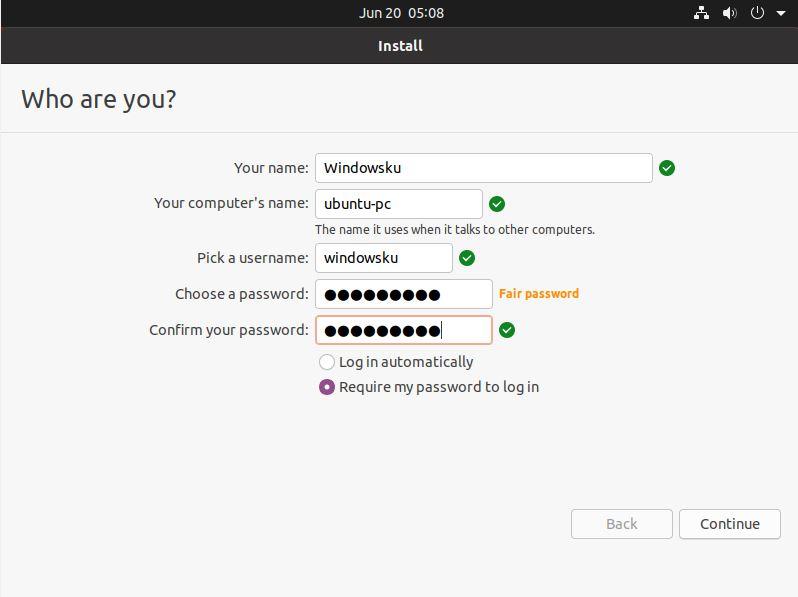 Mengisi Nama Password Ubuntu 20 04
