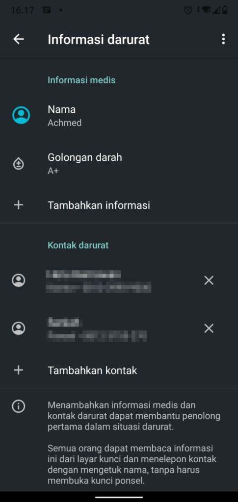 Informasi Darurat Android