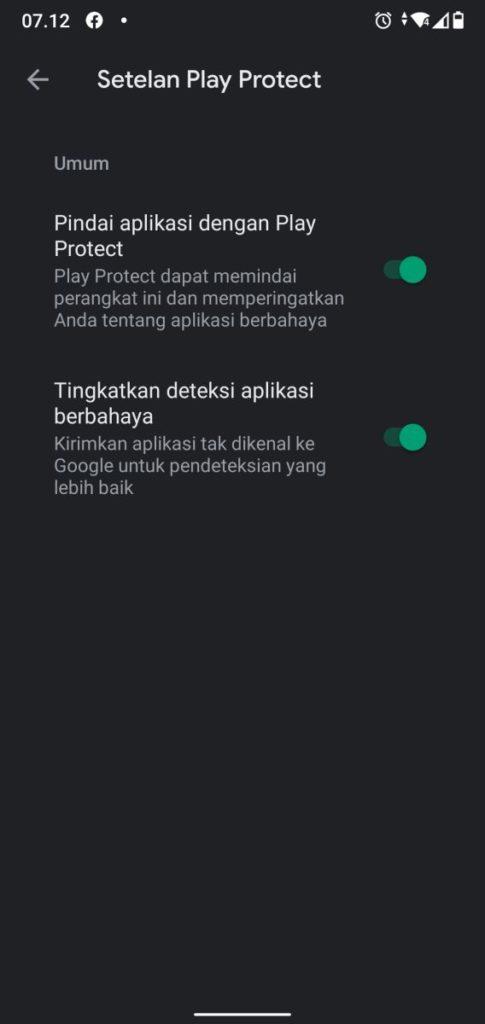 Setelan Google Play Protect